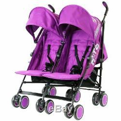 Purple Twin Stroller Pram Pushchair Buggy Inc Parasol Rain Cover & Footmuffs