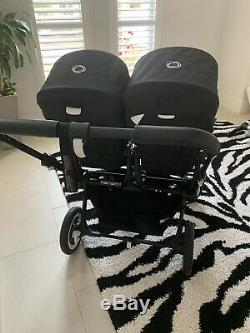 SLIGHTLY Used Bugaboo Donkey Twin Double Bassinet Convertible Stroller Black
