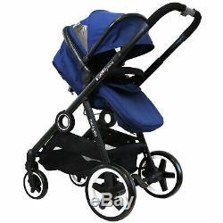 SPECIAL OFFER Blue Lightweight Double Twin Tandem Pram Stroller inc Raincover