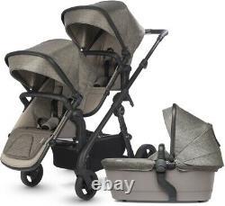 Silver Cross Coast Twin Baby Double Pram System Baby Stroller w Bassinet Tundra