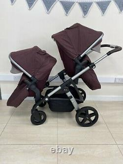 Silver Cross Wave Twin / Tandem / Double Travel System Claret Red Refurbished