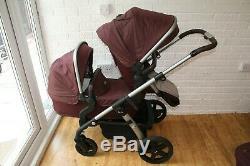 Silver Cross Wave double twin pram pushchair Purple Claret