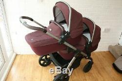 Silver Cross twin pram pushchair travel system 3 in 1 Purple Claret