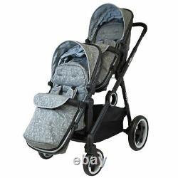 Silver Lightweight Twin Tandem Pram Stroller inc Carrycots Footmuff & Raincover