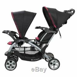 Sit N' Stand Girl Double Stroller Stand 2 Car Seat & 2 Bases Twins Travel System