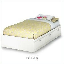 South Shore Spark Twin Mates Bed (39'') with 3 Drawers, Pure White