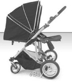 Stroll-Air Black DUO 4 Wheel Double Twin Baby Stroller