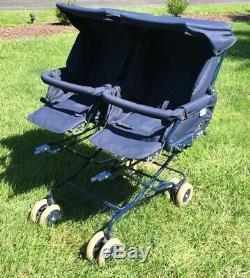 TWINDoubleBABY/TODDLER/INFANTINGLESINA STROLLER PRAM NAVY BLUE VHTF