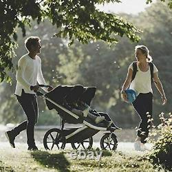 Thule Urban Glide 2 Double Twin Baby Jogging Stroller in Black with Silver Frame
