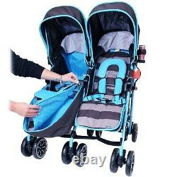 Toddler Baby Double Twin Folding Pushchair Stroller Travel Buggy Newborn New
