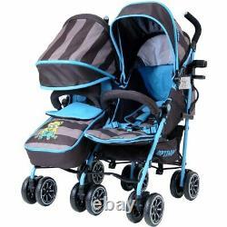 Toddler Baby Double Twin Folding Pushchair Stroller Travel Buggy Newborn Pram