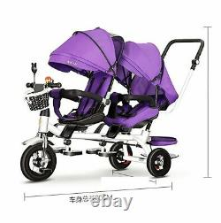 Twin Baby Stroller Double Seat Child Tricycle Bike Rotatable Seat Three Wheel
