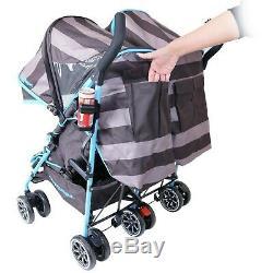 Twin Boys Double Blue Stroller Pushchair Pram Buggy inc Raincover & Bag