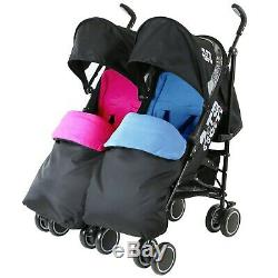 Twin Boys & Girls Black Double Stroller Buggy Pushchair inc Raincover & Footmuff