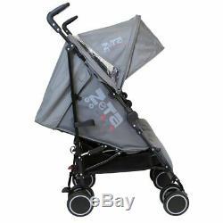 Twin Boys Grey Double Stroller Buggy Pushchair inc Raincover & Footmuff