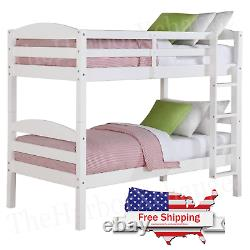 Twin Over Twin Bunk Bed Separable Wooden Home Bedroom Teens Child White