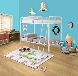 Twin Size Metal Bunk Bed Frame With Ladder Kids Child Bedroom Furniture White