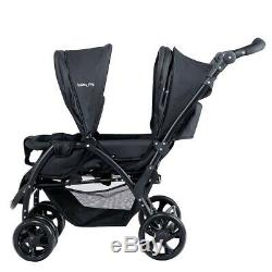 Twin Stroller Double Baby Pushchair Infant Foldable Stroller w Toilet Paper Free