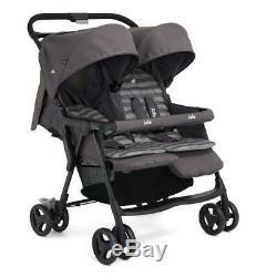 Twin Stroller Pram Buggy Pushchair Raincover Joie Dark Pewter Prams Lightweight