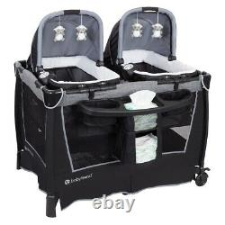 Twins Baby Double Stroller with 2 Car Seats & Infant Playard Combo Travel Set