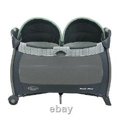 Twins Baby Double Stroller with 2 Car Seats Nursery Crib Bag Combo Travel System