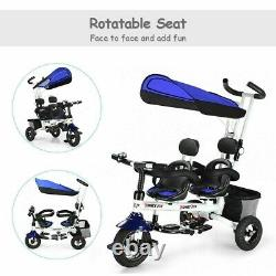 Twins Baby Tricycle Stroller With Safety Double Rotatable Seat Toddler Travel