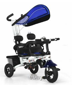 Twins Baby Tricycle With Safety Double Rotatable Seat