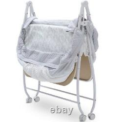 Two Twin Baby Compact Double Bassinet Crib Cradle Playpen Bedside Bed Side Child