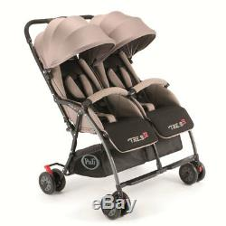 Ultra-light twin stroller Tre. 9 x2 Grigio Sabbia Pali