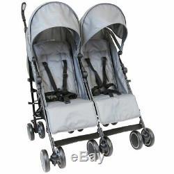 Unisex Grey Twin Double Buggy Pram Pushchair Stroller inc Parasol & Raincover