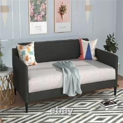 Upholstered Twin Daybed Twin Size Polyester Sofa Bed Frame With Wood Slats Gray