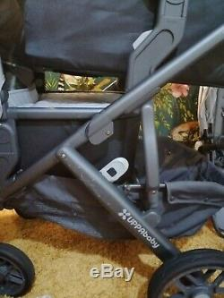Uppababy vista Pascal grey/carbon twin double buggy, 2 carry cots 2 seats units