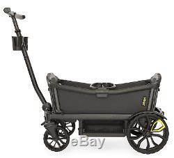Veer All Terrain Cruiser Twin Kids Double Stroller Wagon with Basket Gray/Black