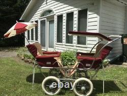 Vintage Peg Perego Twin Double Stroller Red Canopy And Umbrella