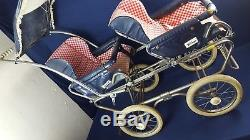 Vintage Perego Double Twin Baby Carriage Pram Blue Red Gingham Removeable Seats