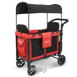 WonderFold Multi-Purpose 2 Toddler Twin Double Stroller Wagon with Raised Seat