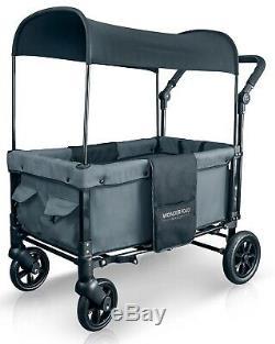 Wonderfold W1 One Step Fold Unfold Double Seat Twin Stroller Wagon Smoky Gray