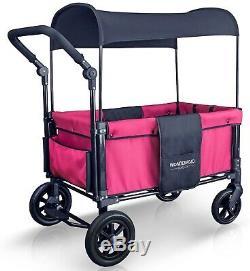 Wonderfold W1 One step Fold Unfold Double Seat Twin Stroller Wagon Fuschia Pink