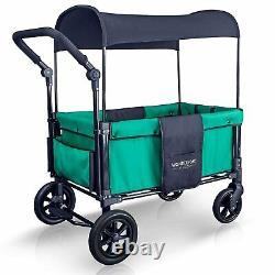 Wonderfold W1 One step Fold Unfold Double Seat Twin Stroller Wagon Teal Green