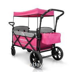 Wonderfold X2 Passenger Push Pull Twin Double Stroller Wagon With Adjustable Han