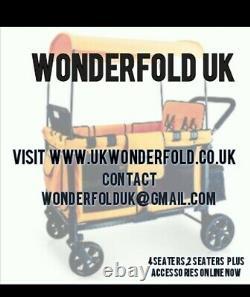 Wonderfold wagon W2 2 Seater/new born in Black. Pram twin pram with Raincover
