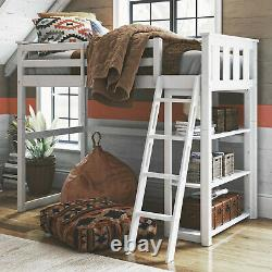 Wooden Twin Loft Bed With Storage Shelves Kids Child Bedroom Bookcase Ladder White