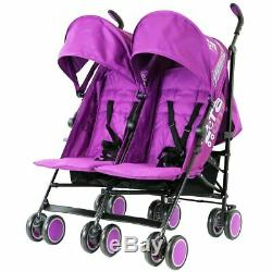 Zeta City Purple Double Toddler Baby Twin Stroller Pushchair Buggy inc Raincover