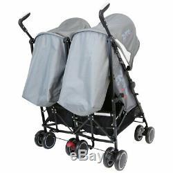 Zeta Twin Double Grey Stroller Buggy Pushchair Pram Inc Raincover