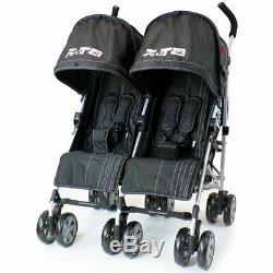 Zeta Voom Boys Black Twin Double Pushchair Stroller Buggy Inc Raincover & Bag