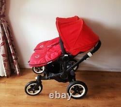 2015 Bugaboo Duo Duo Twins / Double / Simple True Cadre Noir. Rouge