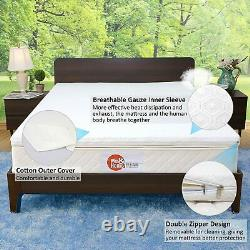 2021 Nesaila Bamboo Charcoal Latex Matelas Topper Twin 3.15 Pouces Double Couche