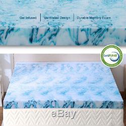 2.5,3,4 Pouces Memory Gel Mousse Surmatelas Bleu Lavande Swirl Reine Roi Double