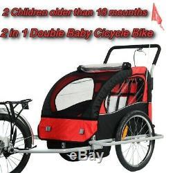 2 En 1 Double Bébé Vélo Remorque Porte-vélos Pour Enfants Jogger Twins Poussette Tirez