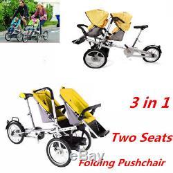 3 In1 Pliant Mère Vélo Jumeaux Bébé Bambin Poussette Poussette Vélo 2 Sièges